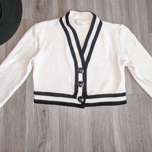 St. John Cream & Black Short Knit Button Sweater 6